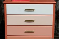 DIY ombre peachy pink dresser with brass handles