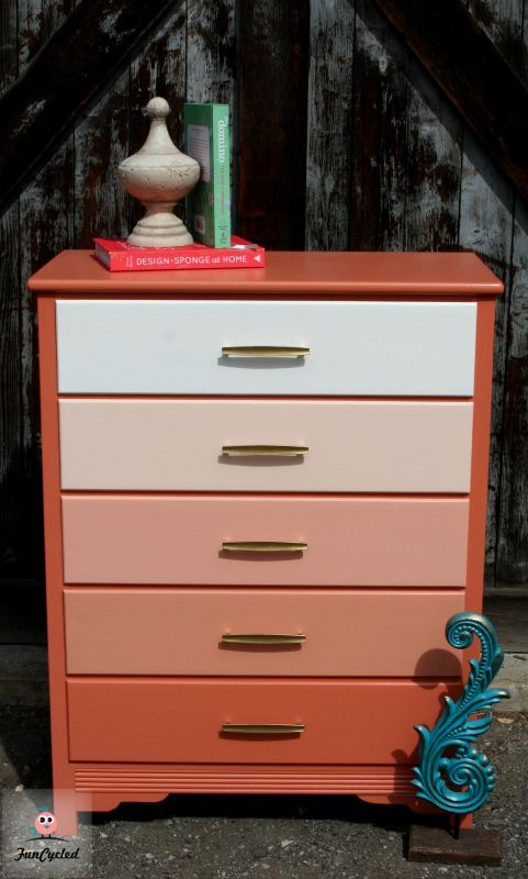 DIY ombre peachy pink dresser with brass handles (via funcycled.com)