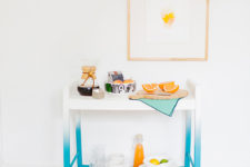 a TV stand into a DIY ombre blue bar cart