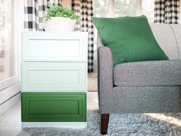 DIY ombre green dresser with no handles (via www.diynetwork.com)