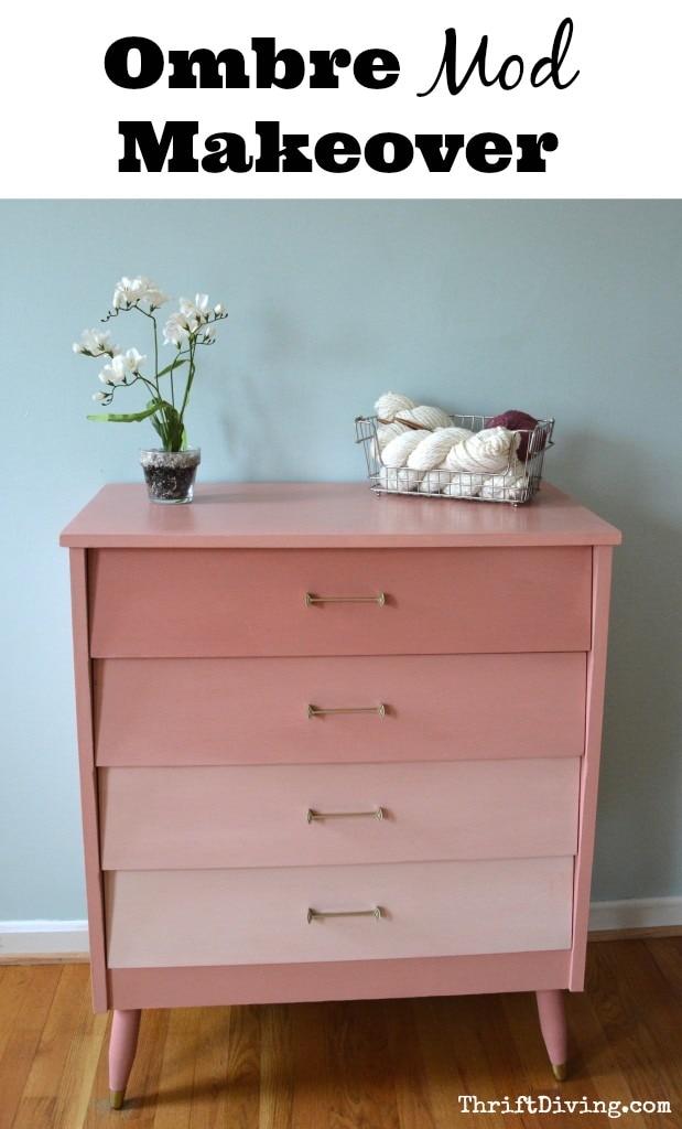 DIY ombre pink dresser