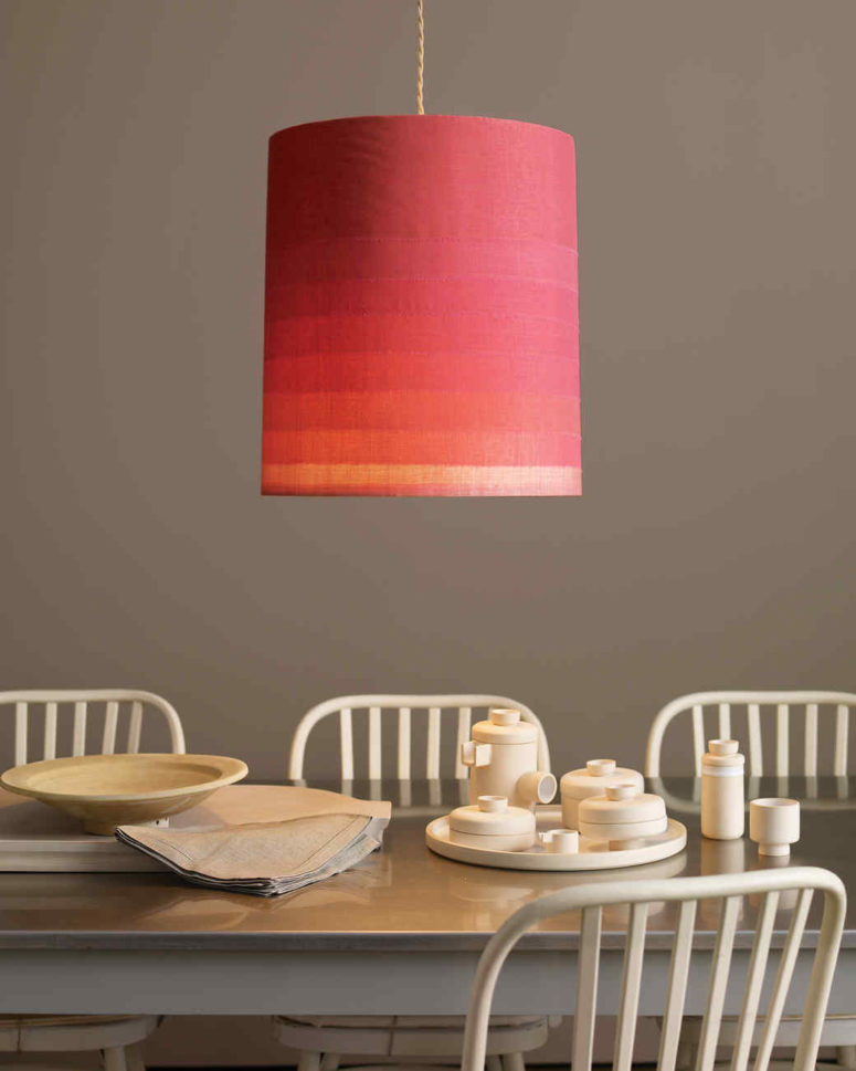 DIY ombre red fabric lampshade for a pendant lamp (via www.marthastewart.com)