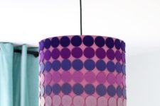 DIY purple lampshade with ombre felt circle decor
