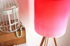 DIY ombre hot pink lampshade of an old silk tee