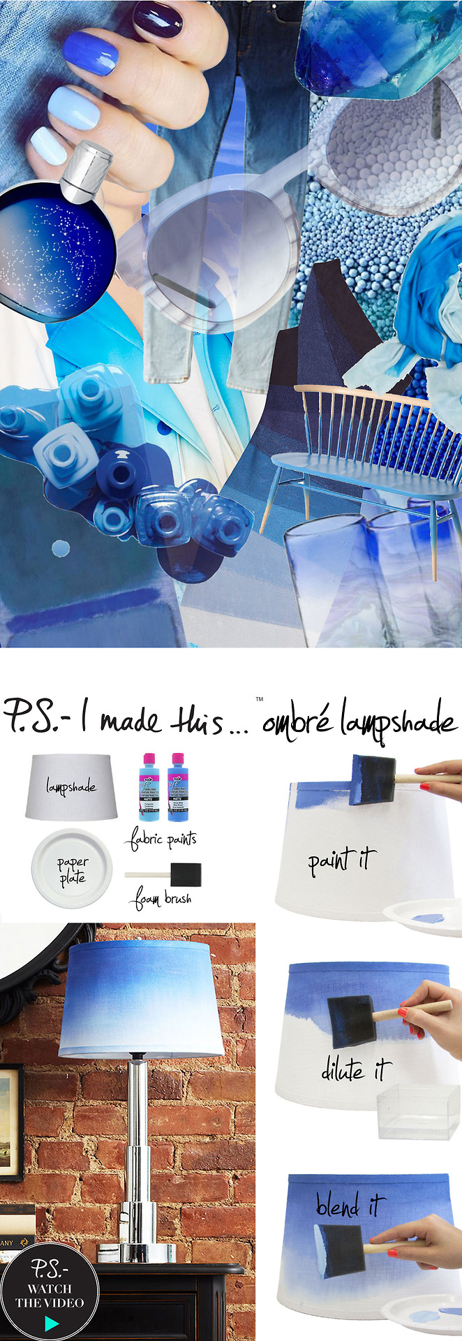 DIY painted ombre blue fabric lampshade (via www.psimadethis.com)