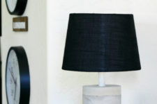 DIY ombre concrete lamp with a black lampshade