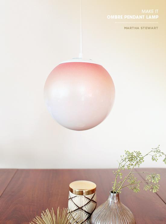 DIY delicate ombre coral glass pendant lamp (via www.designlovefest.com)