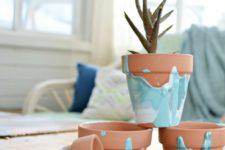 DIY ombre drip flower pots
