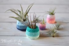 DIY crocheted ombre air plant pots