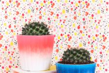 DIY bright ombre spray painted planters