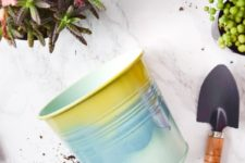 DIY ombre spray painted tin planters from IKEA