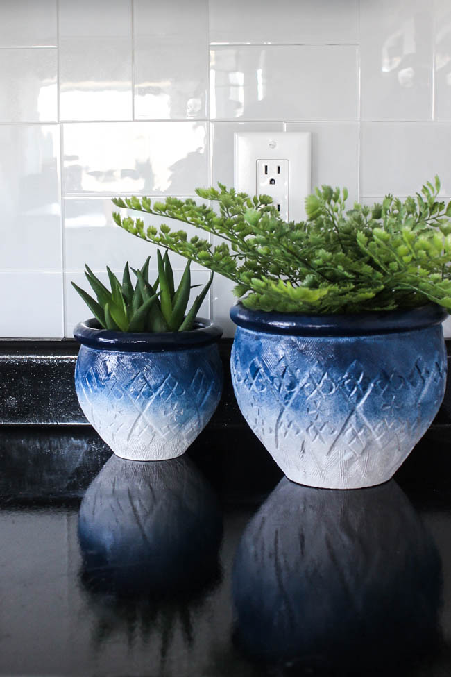 DIY painted navy to white ombre planters with patterns