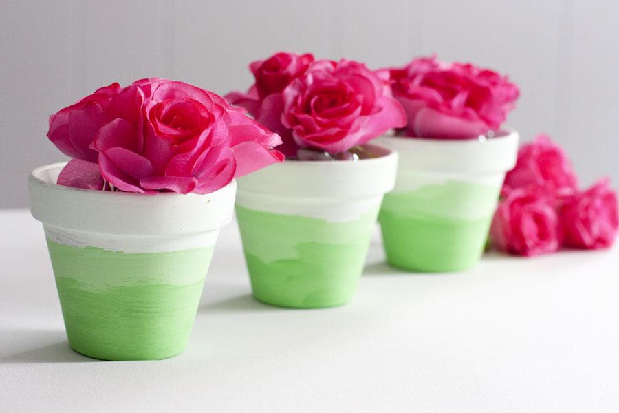 DIY mini ombre green painted flower pots