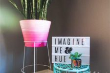 DIY ombre pink textural planter and a plant stand