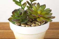 DIY white to gold glitter ombre planter