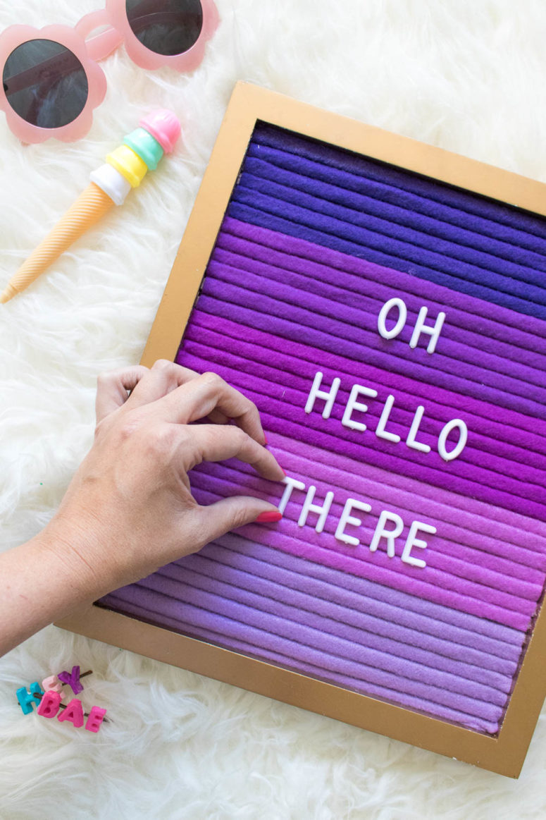 DIY ombre felt letter board (via www.clubcrafted.com)