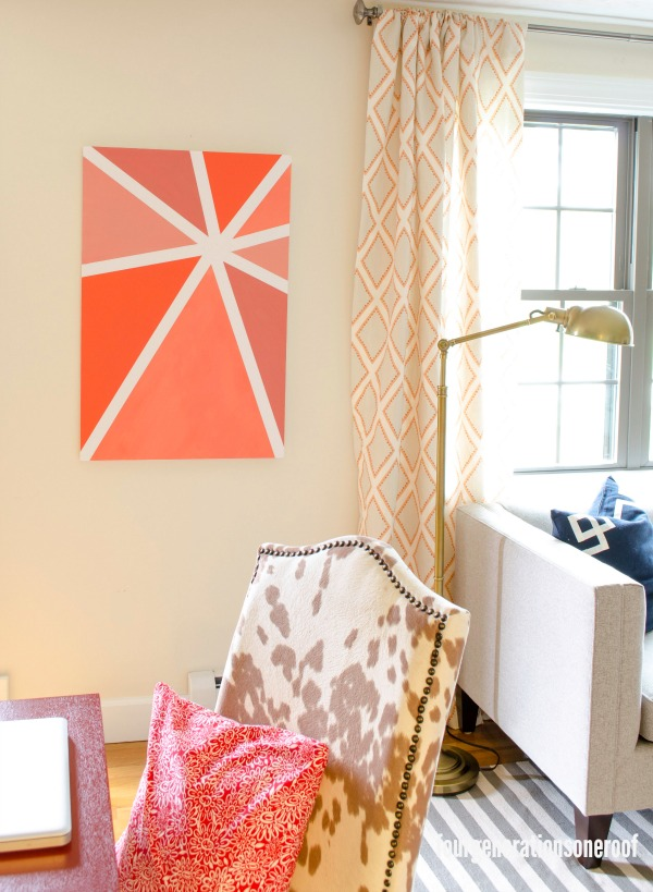 DIY geometric ombre artwork in bold orange (via www.fourgenerationsoneroof.com)