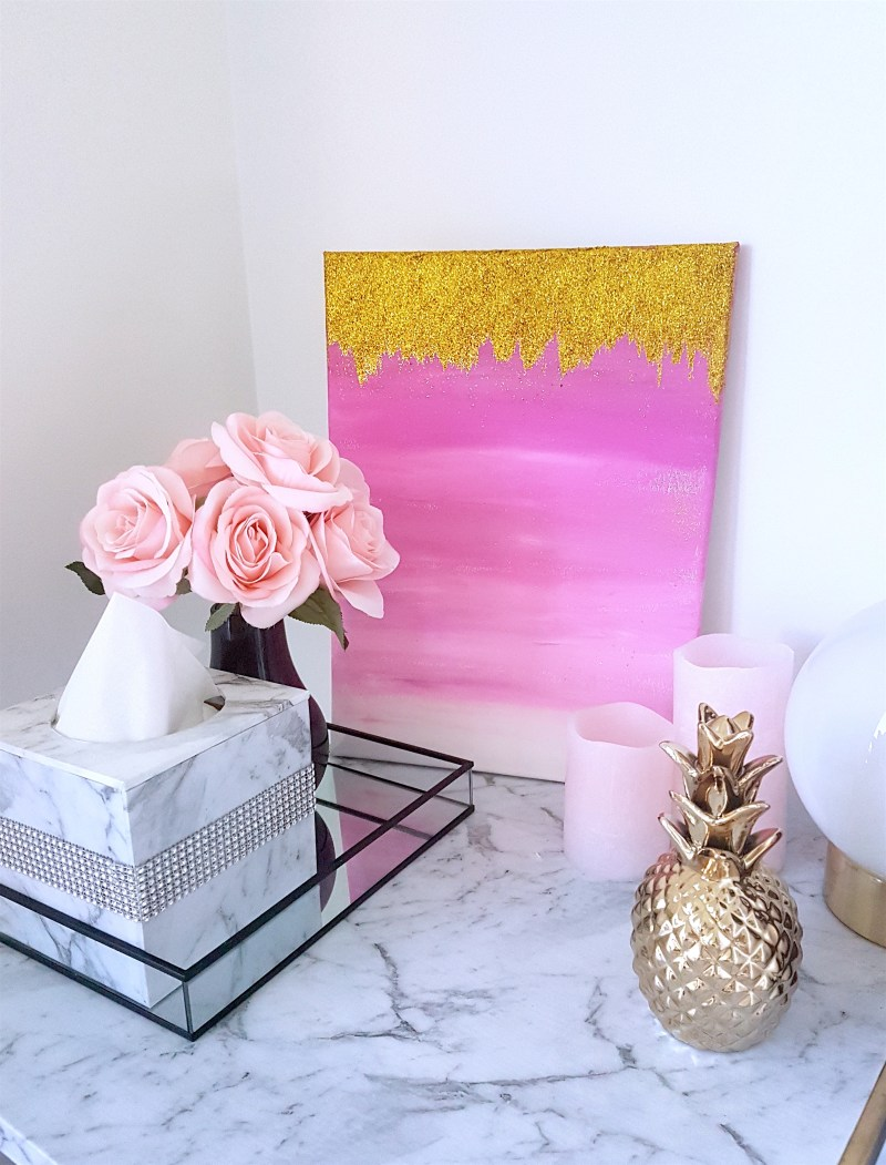 DIY glam ombre pink and gold glitter wall art