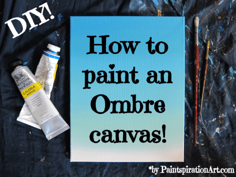 DIY ombre blue canvas with a video tutorial (via paintspirationart.com)