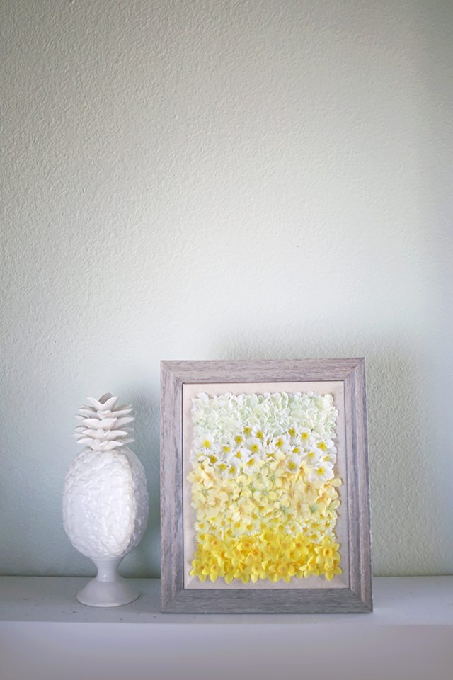 DIY ombre yellow floral applique artwork in a frame (via www.shrimpsaladcircus.com)