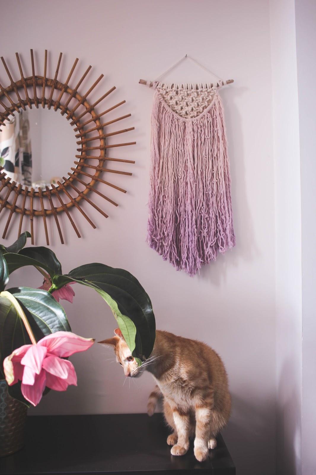 DIY lilac macrame ombre wall art