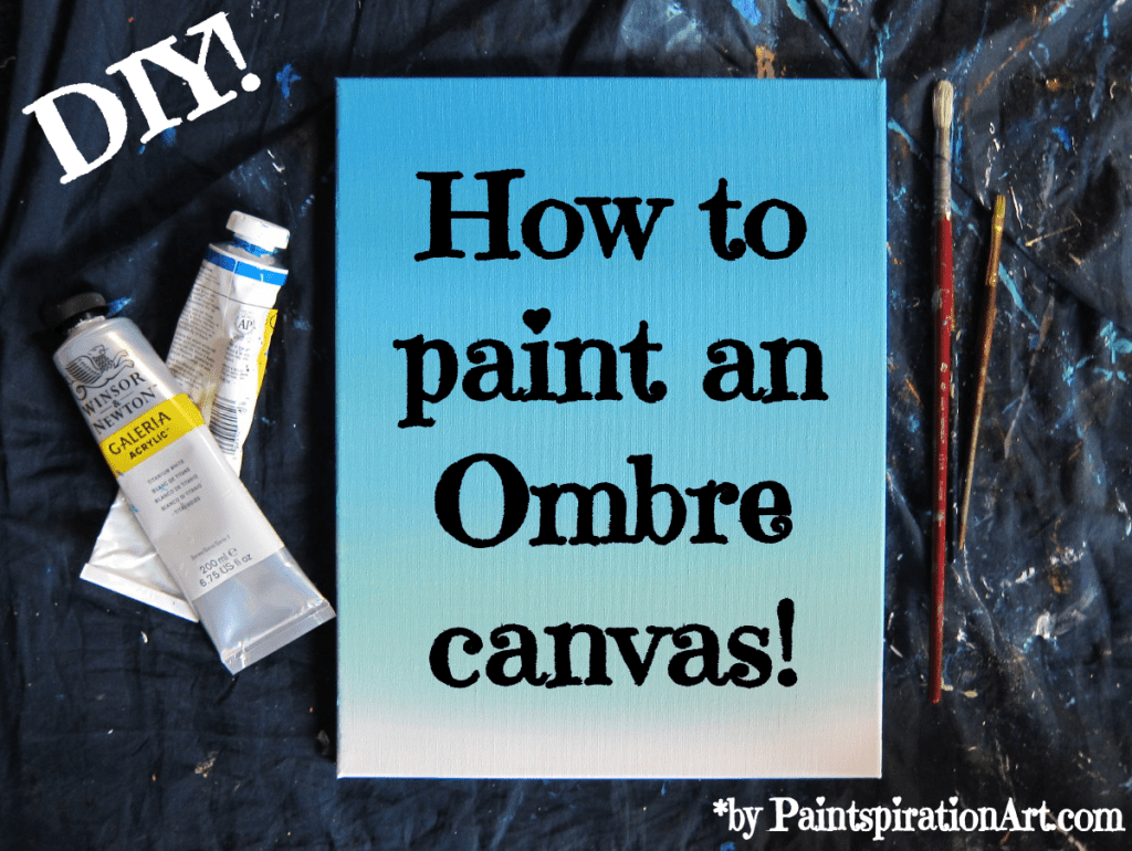 DIY ombre blue canvas with a video tutorial