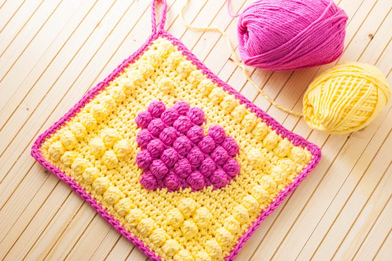 DIY crocheted bobble heart potholder