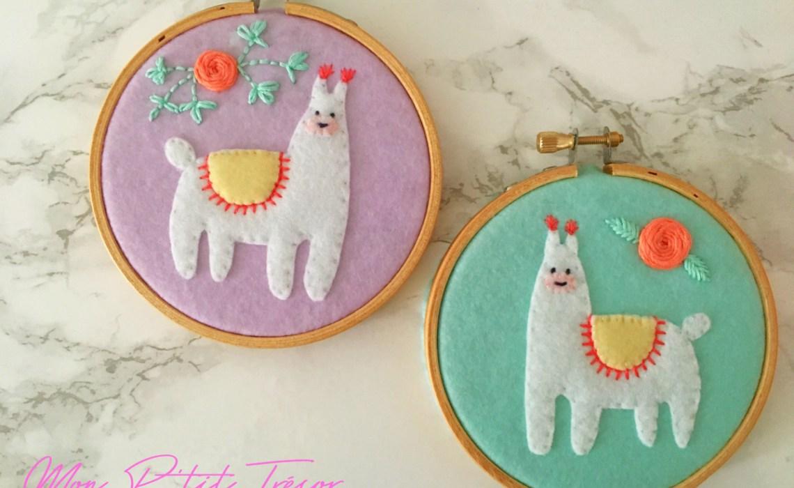 DIY colorful felt llama artworks