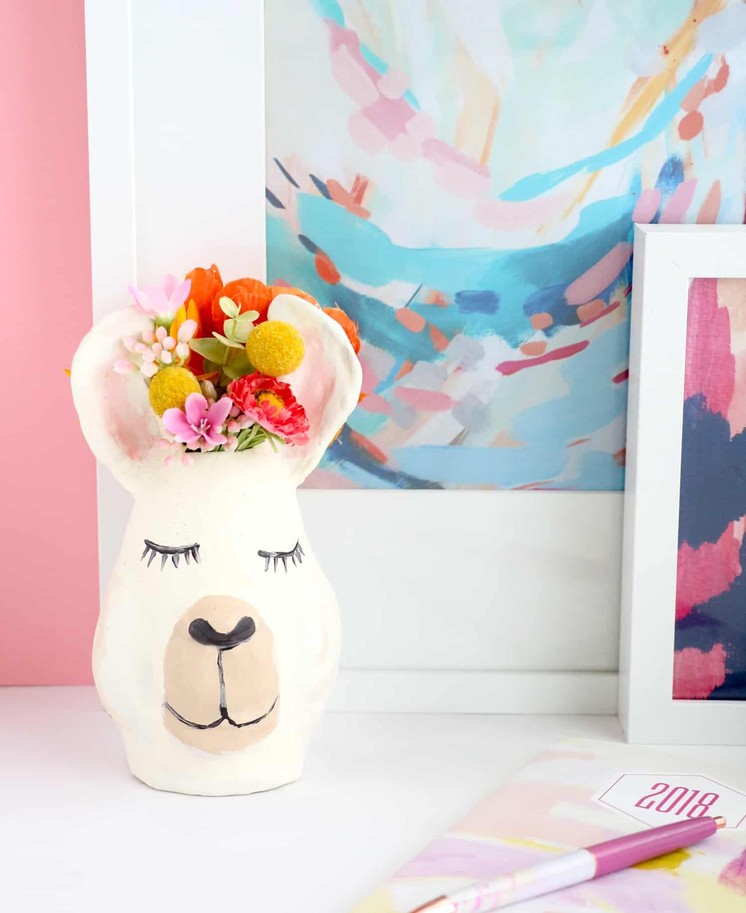 DIY llama head vase