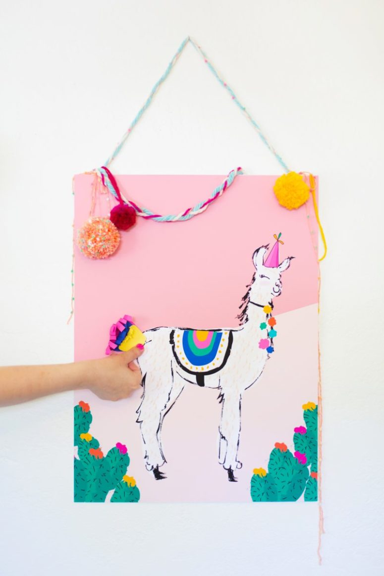 DIY pin the tail llama game for parties (via lovelyindeed.com)