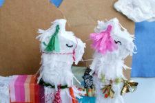 DIY mini llama pinatas for parties