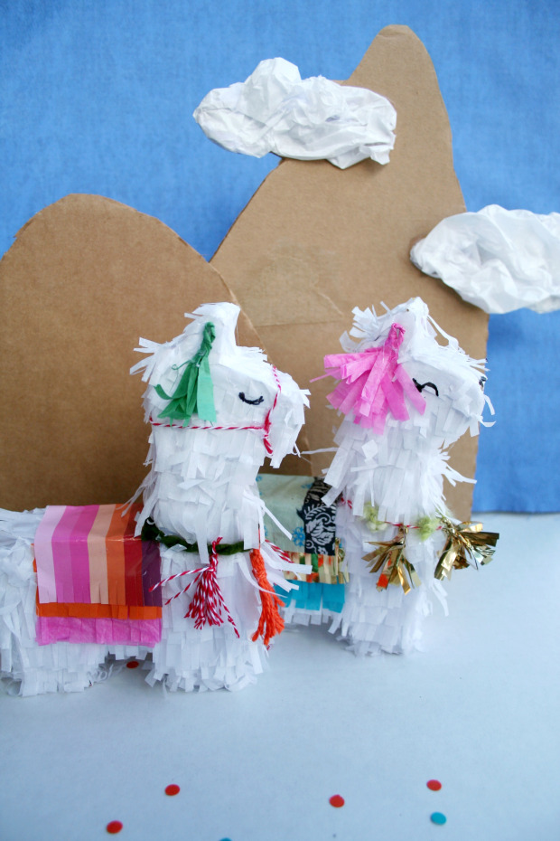 DIY mini llama pinatas for parties