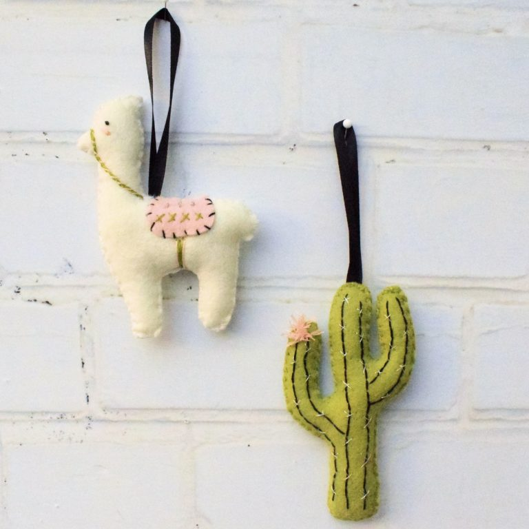 DIY llama and cactus decorations or toys (via bustleandsew.com)