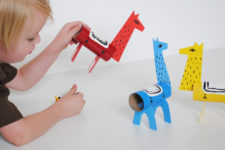 DIY colorful cardboard llamas for kids to play with