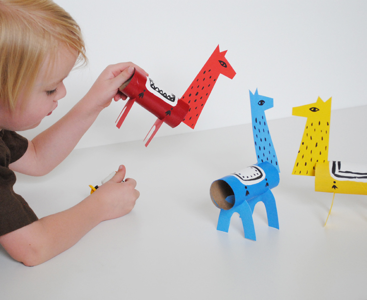 DIY colorful cardboard llamas for kids to play with (via mermagblog.com)
