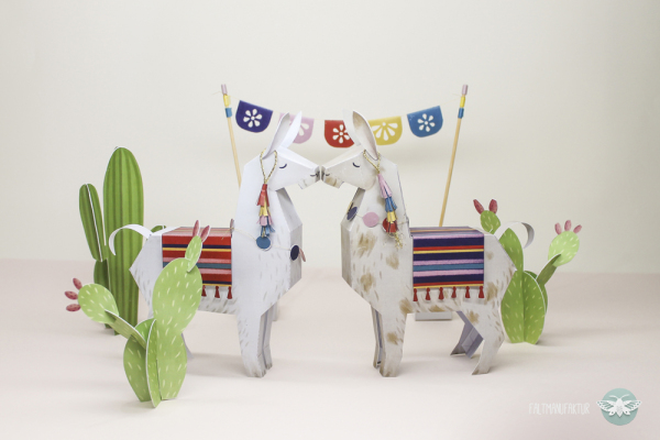 DIY paper llamas and cacti for playing and decor (via faltmanufaktur.wordpress.com)