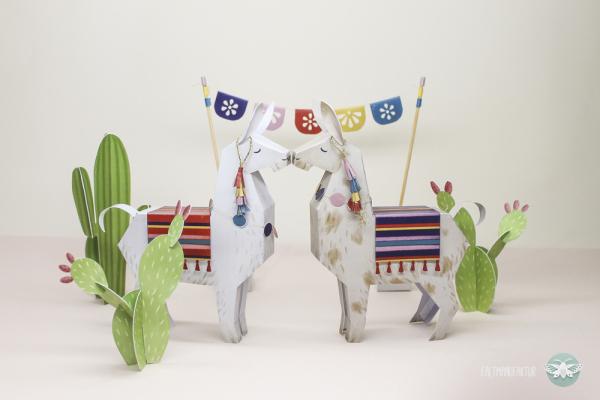 DIY paper llamas and cacti for playing and decor