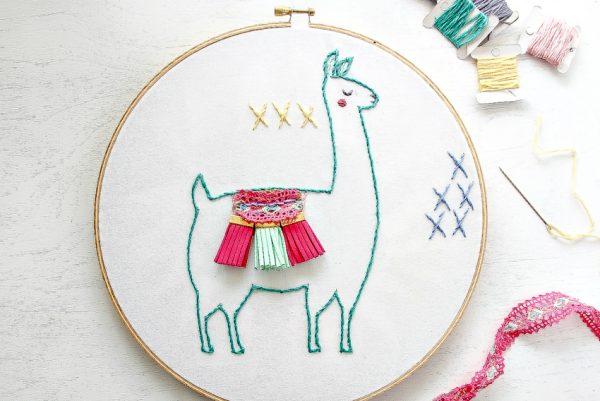 DIY colorful llama embroidery artwork