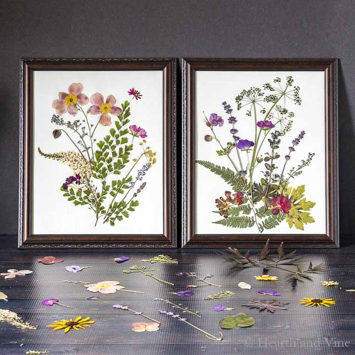 DIY pressed flower artworks in vintage frames (via hearthandvine.com)