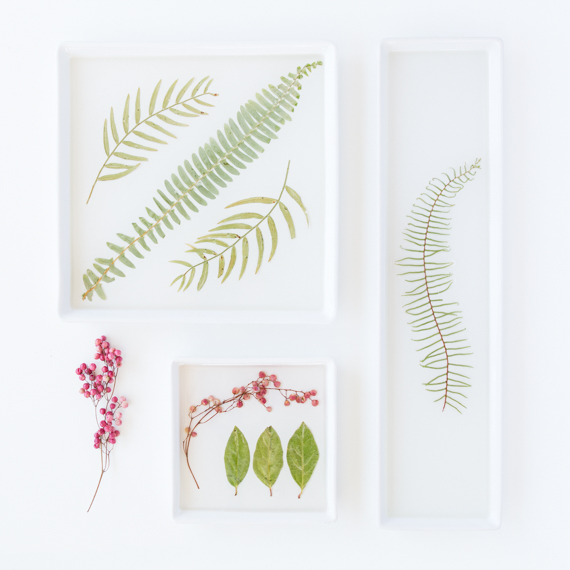 DIY pressed flower serving trays and dishes