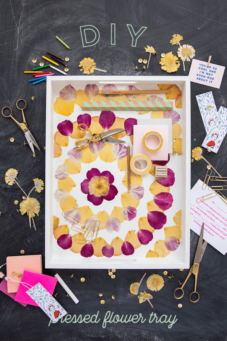 DIY pressed flower patterned tray