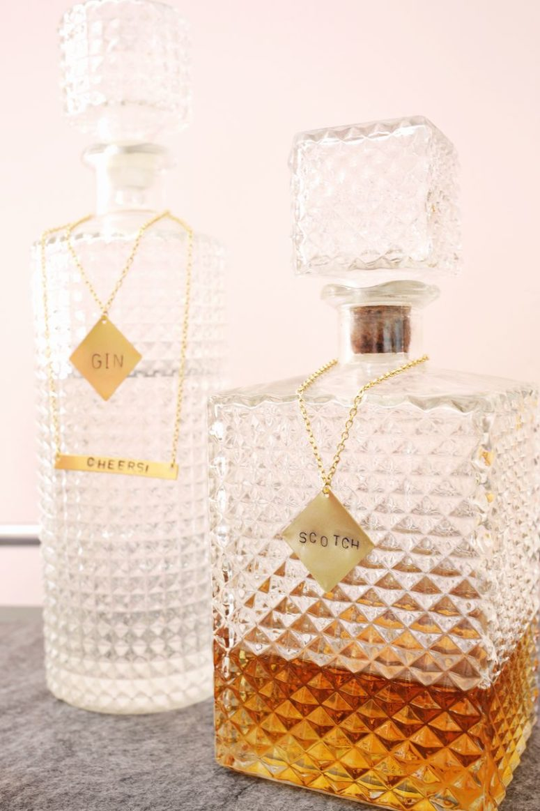 DIY stamped metal liquor labels (via abeautifulmess.com)