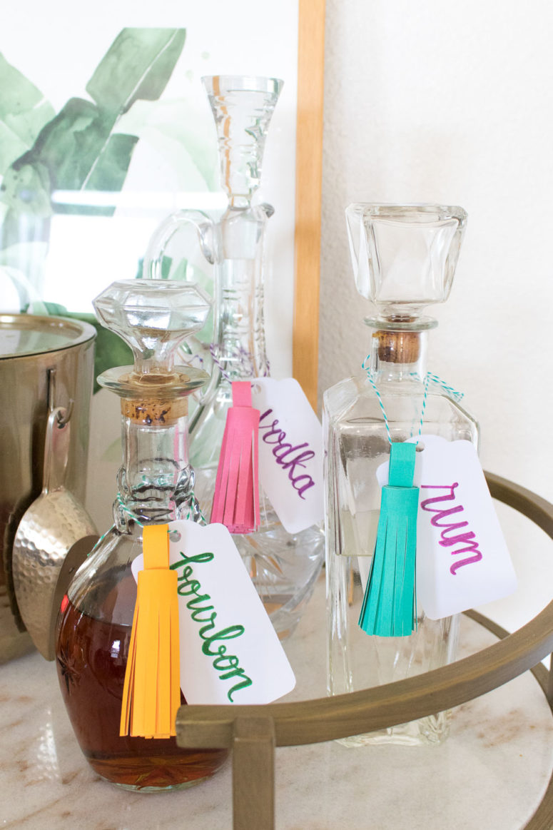 DIY bright cardboard tassel decanter tags (via www.clubcrafted.com)