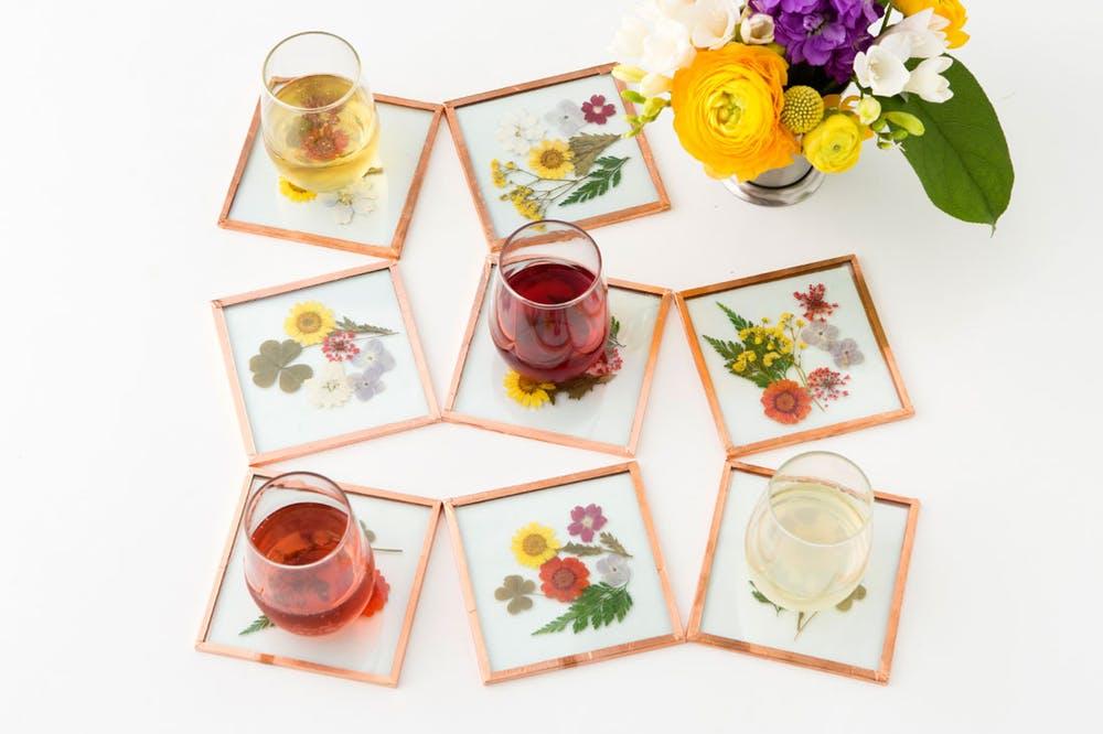 DIY glass tile pressed flower coasters
