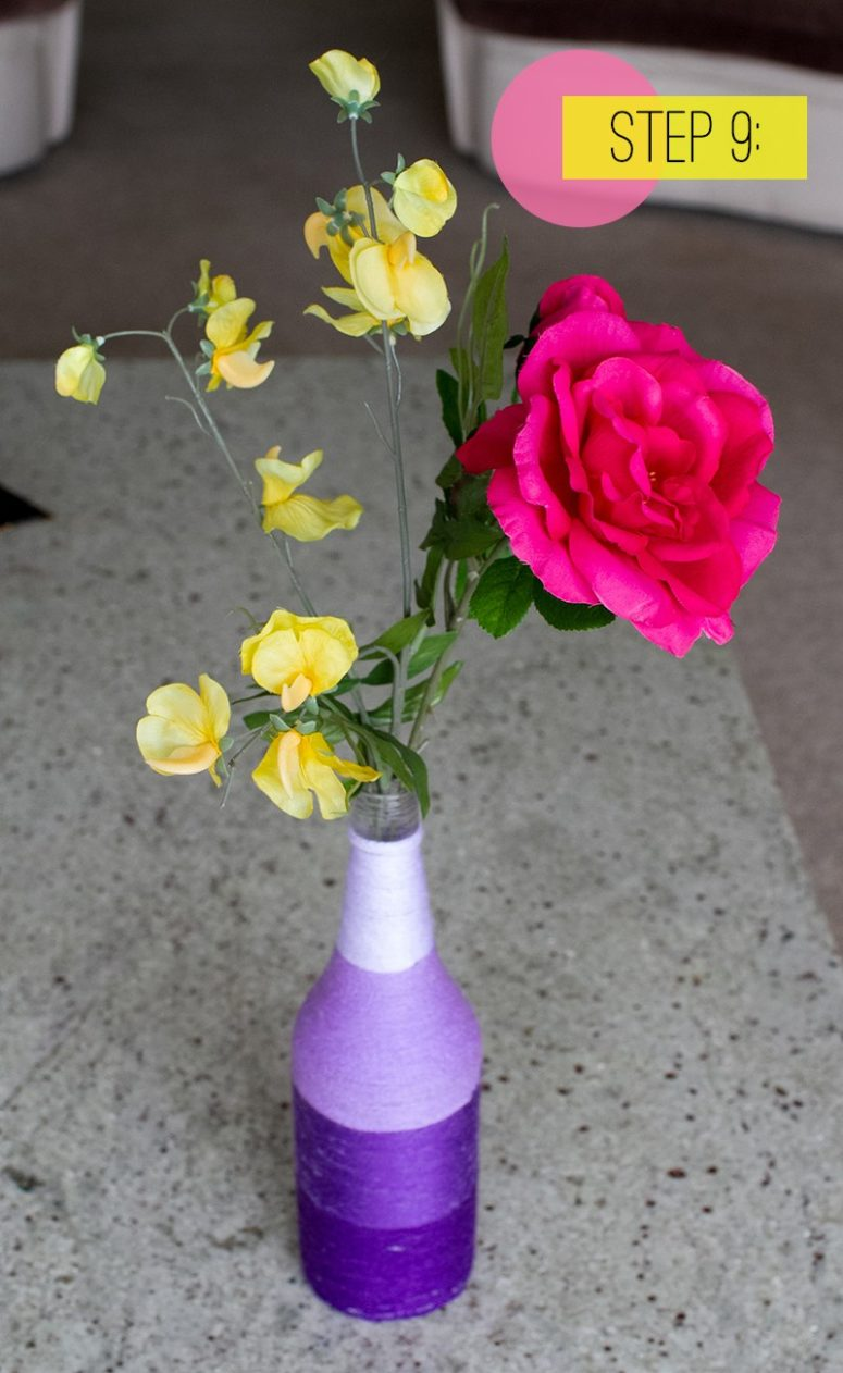 DIY purple ombre yarn wrapped vases (via www.bespoke-bride.com)