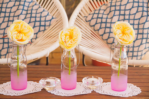 DIY dip dyed frosted ombre vases