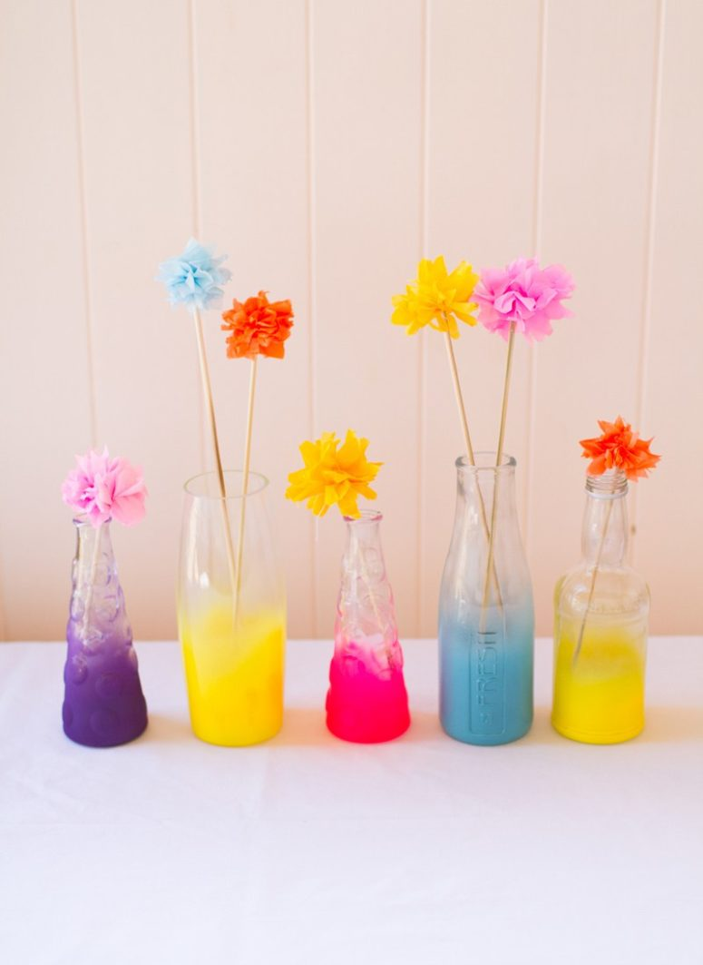 DIY neon colored ombre painted vases (via www.bespoke-bride.com)