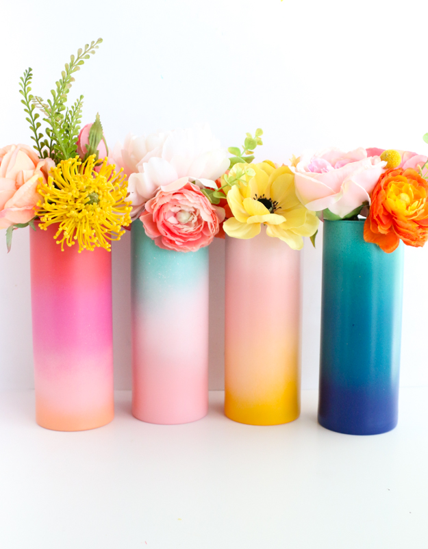 DIY vibrant gradient tall flower vases (via akailochiclife.com)