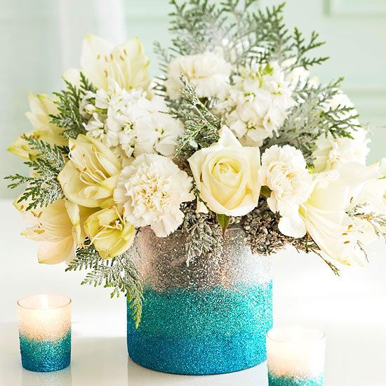 DIY ombre glitter vase for a party centerpiece (via www.bhg.com)