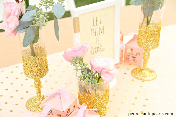 DIY ombre gold glitter vases of little plastic cups (via www.penniesintopearls.com)